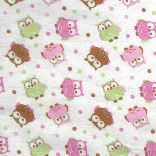 Trend Lab Owl Print Flannel Green, Pink, Brown and White Crib Sheet