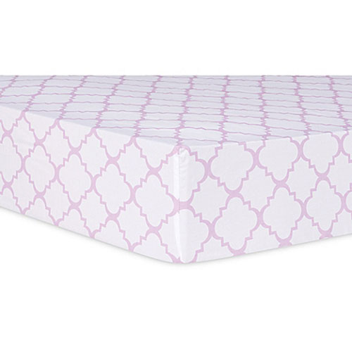 Orchid Bloom Quatrefoil Fitted Crib Sheet