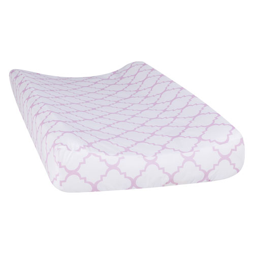 Orchid Bloom Quatrefoil Changing Pad Cover