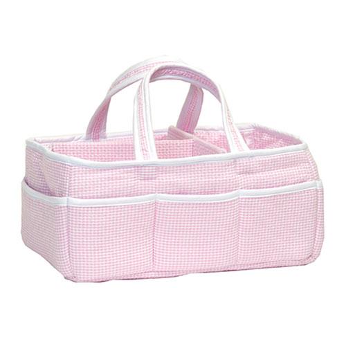 Pink Gingham Seersucker Storage Caddy