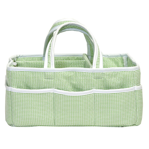 Sage Gingham Seersucker Storage Caddy