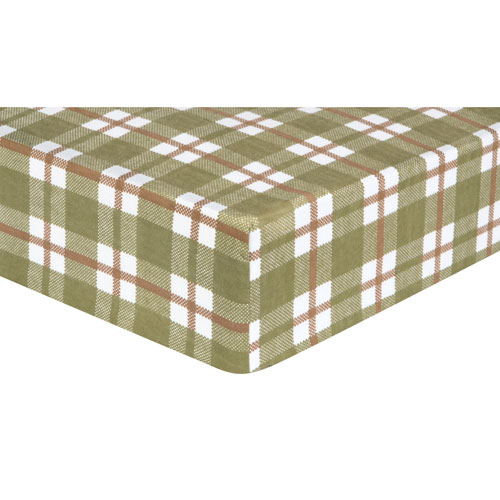 Trend Lab Green and Brown Plaid Flannel Fitted Crib Sheet