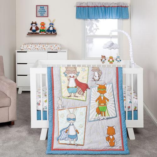 Superheroes Three-Piece Crib Bedding Set