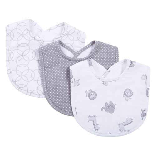 Safari Gray Bib, Set of Three