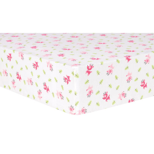 Pink Reindeer Deluxe Flannel Fitted Crib Sheet