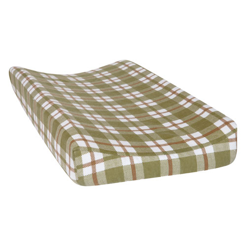 Trend Lab Green and Brown Plaid Deluxe Flannel Changing Pad Cover