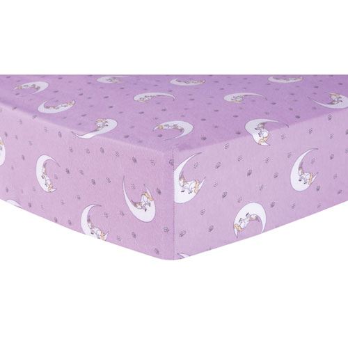 Unicorn Moon Deluxe Flannel Fitted Crib Sheet