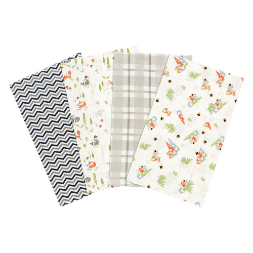 Woodsy Gnomes Flannel Burp Cloth, Set of Four
