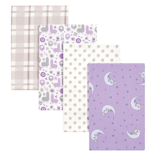 Llamas and Unicorns Flannel Blankets, Set of Four