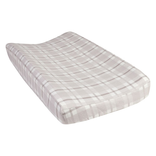 Trend Lab Gray and White Plaid Deluxe Flannel Changing Pad Cover