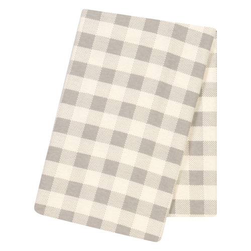 Trend Lab Gray and Cream Buffalo Check Jumbo Deluxe Flannel Swaddle Blanket