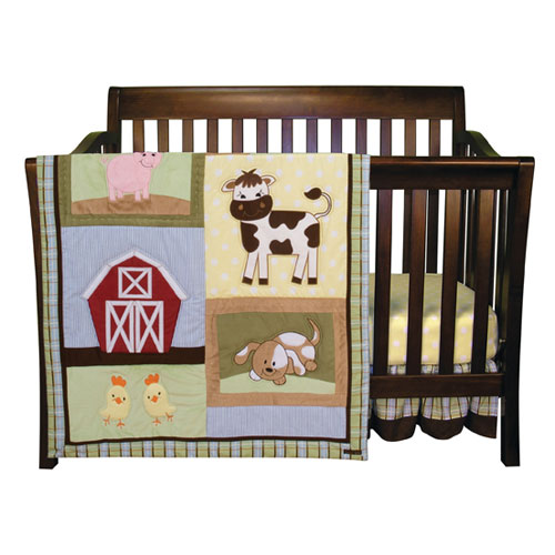 Baby Barnyard Three Piece Crib Bedding Set