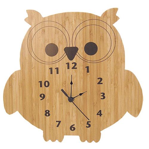 Bamboo Owl Wall Clock