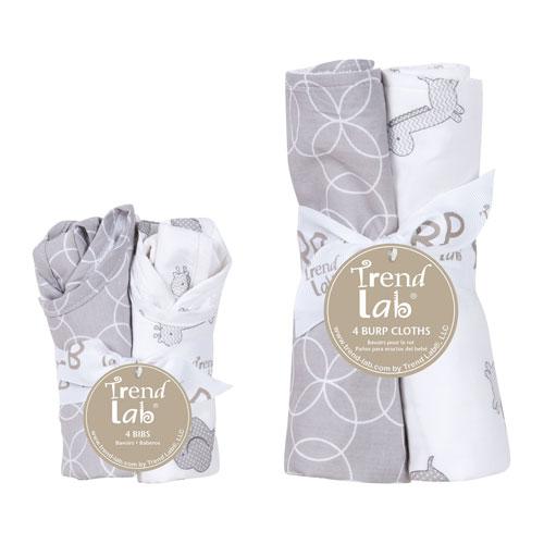 Trend Lab Circles Gray Eight-Piece Bib and Burp Cloth Set