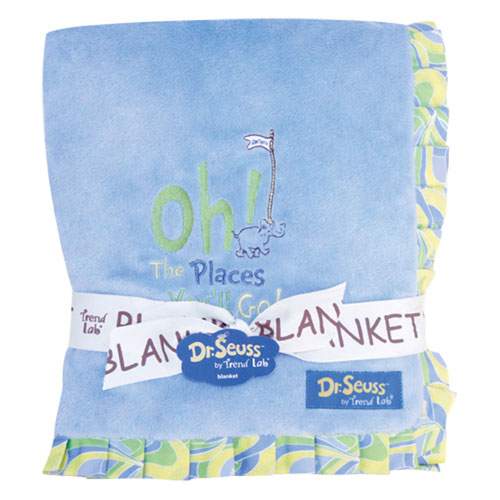 Dr. Seuss Oh, The Places Youll Go! Blue Ruffled Velour Baby Blanket