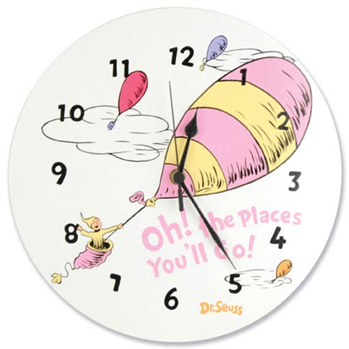 Dr. Seuss Oh The Places Youll Go Pink Wall Clock