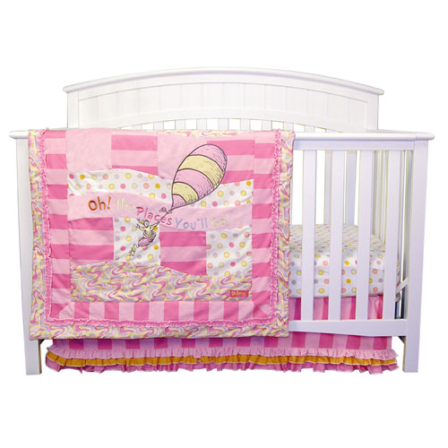 Dr Seuss Oh The Places Youll Go Pink Three Piece Crib Bedding Set
