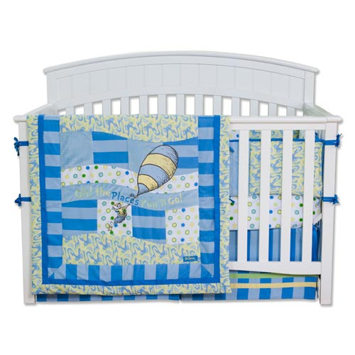 Dr. Seuss Oh The Places You Will Go Blue Four-Piece Crib Bedding Set