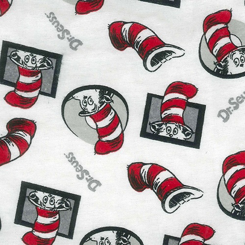 Dr. Seuss Cat in the Hat Flannel White, Black, Gray and Red Crib Sheet