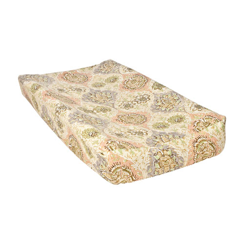 Waverly Rosewater Glam Damask Changing Pad Cover