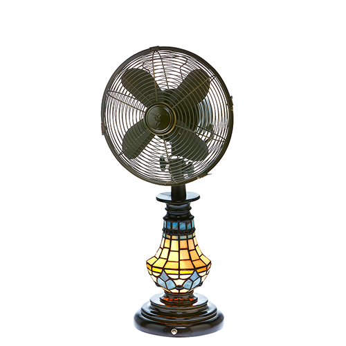 Tiffany Glass Victorian Table Fan with Light
