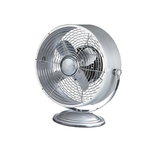 Silver Metallic 12-Inch Retro Swivel Fan