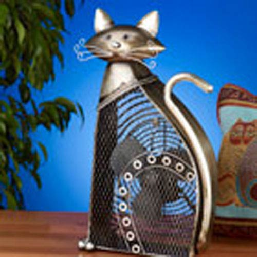 Deco Breeze Antique Silver Figurine Fan Cat