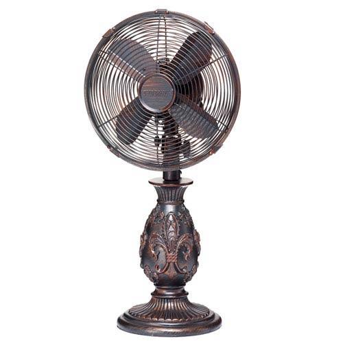 Multi Colored 10 Inch Table Fan Fleur De Lis Copper