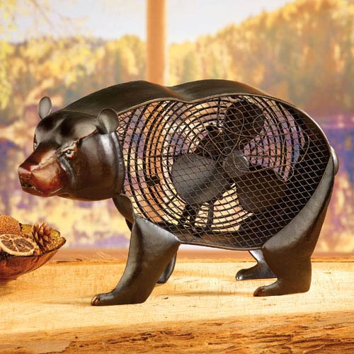 Deco Breeze Brown Figurine Fan Black Bear