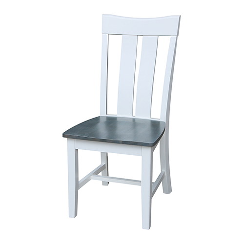 International Concepts Ava White and Heather Gray Dining Chair- Set of Two