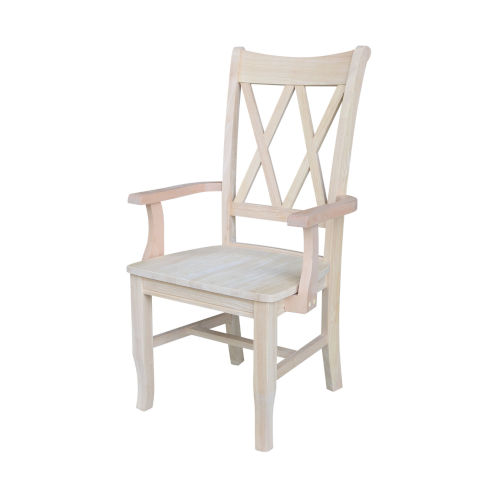Beige Double X-Back Chair with Arms
