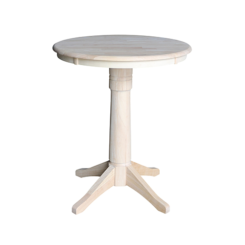 Unfinished 30-Inch Straight Pedestal Counter Height Table