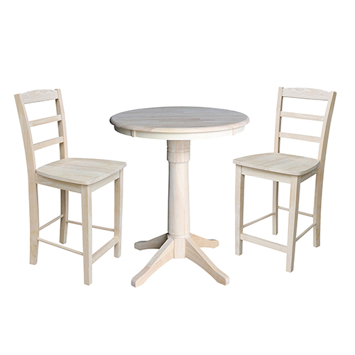 30-Inch Straight Pedestal Counter Height Table with Two Madrid Stools
