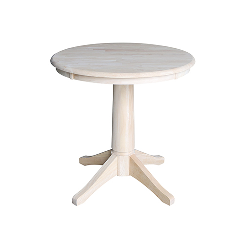 International Concepts Unfinished 30-Inch Straight Pedestal Dining Table