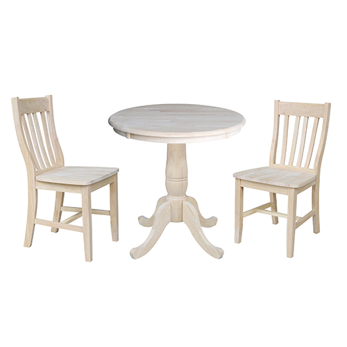 International Concepts Unfinished 30-Inch Curved Pedestal Dining Table with Two Cafe Chairs