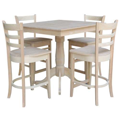 International Concepts Wood 36 Inch Square Top Pedestal Table With Four Counter Height Stool Set Of Five K 3636tp 6b S6172 4 Bellacor - What Height Chairs For 36 Inch Table