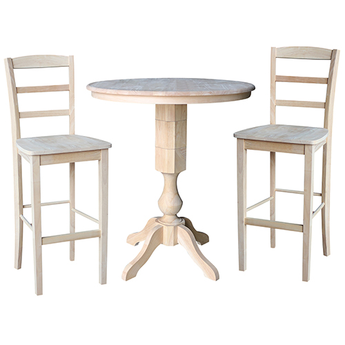 Unfinished 36-Inch Pedestal Bar Height Table with Two Madrid Stools