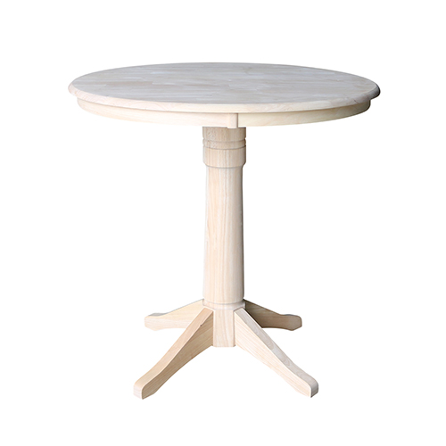 Unfinished 36-Inch Straight Pedestal Counter Height Table
