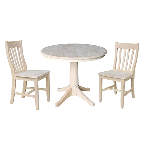 Unfinished 36-Inch Straight Pedestal Dining Table with Two Cafe Chairs