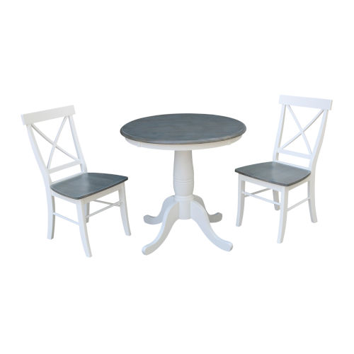 White and Heather Gray 30-Inch Round Top Pedestal Table With X-Back Chairs, Three-Piece