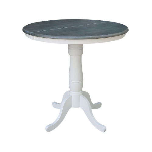 White and Heather Gray 36-Inch Width Round Top Counter Height Pedestal Table With 12-Inch Leaf