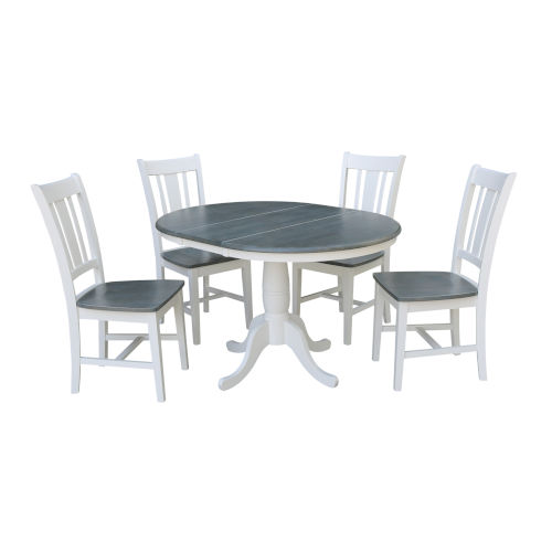San Remo White and Heather Gray 36-Inch Round Extension Dining Table With Four Chairs, Five-Piece