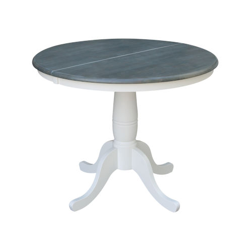 White and Heather Gray 36-Inch Width Round Top Dining Height Pedestal Table With 12-Inch Leaf