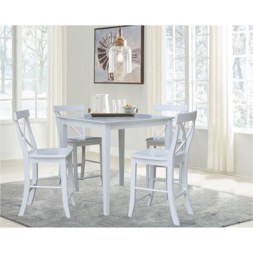 White 36-Inch Counter Height Dining Table with Four X-Back Stool, Set of Five
