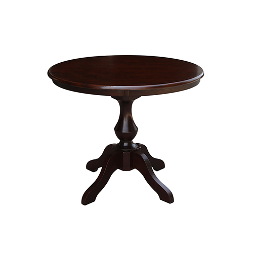 Rich Mocha 36-Inch Curved Pedestal Dining Table