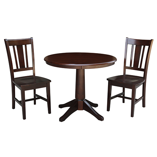 Rich Mocha 36-Inch Straight Pedestal Dining Table with Two San Remo Chairs