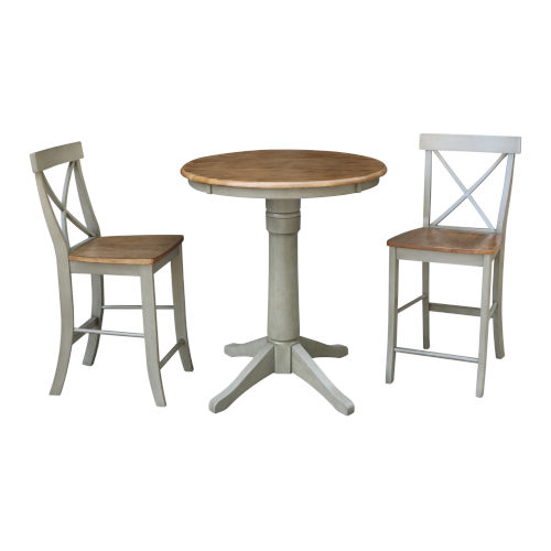 Hickory and Stone 30-Inch Round Pedestal Gathering Height Table With X-Back Counter Height Stools, Three-Piece