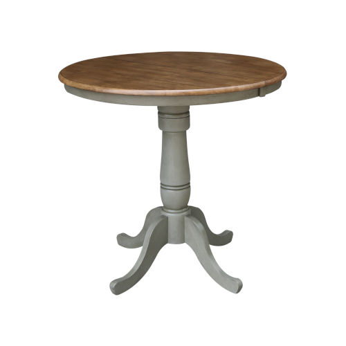 Hickory and Stone 36-Inch Width Round Top Counter Height Pedestal Table With 12-Inch Leaf
