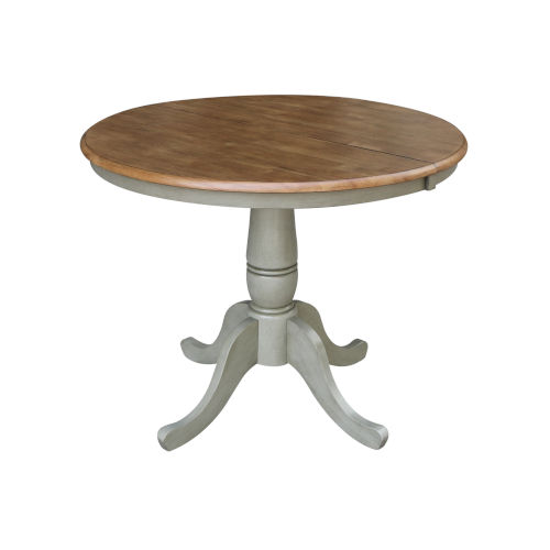 Hickory and Stone 36-Inch Width Round Top Dining Height Pedestal Table With 12-Inch Leaf