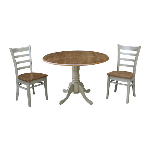 Emily Hickory and Stone 42-Inch Dual Drop leaf Table with Side Chairs, Three-Piece